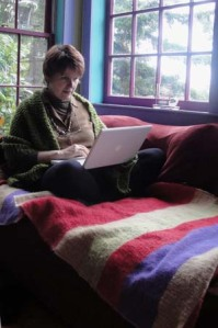 Anne Sibley O'Brien writing at home