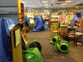 Fans and humidifiers dry out Longfellow Books. MPBN photo.