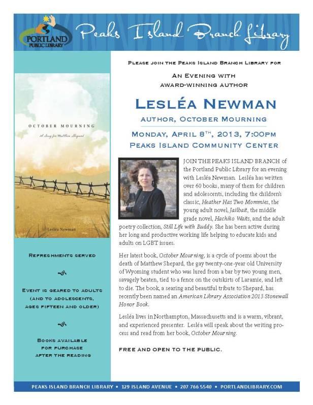 Leslea Newman on Peaks Island