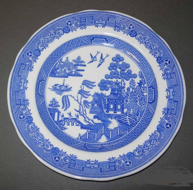 "According to the National Park Service, ""The Blue Willow pattern was introduced in England by the Spode factory in the late 1790s. During the 18th century Europe was fascinated by all things Chinese and especially their beautifully hand-painted china with scenes of Chinese landscapes. The Blue Willow pattern is not an exact copy of a Chinese pattern but rather based on several traditional Chinese designs."""