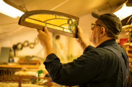 """Restoration of stained glass window of """"Narcissus"""" interurban car (copyright Alban Maino)"""
