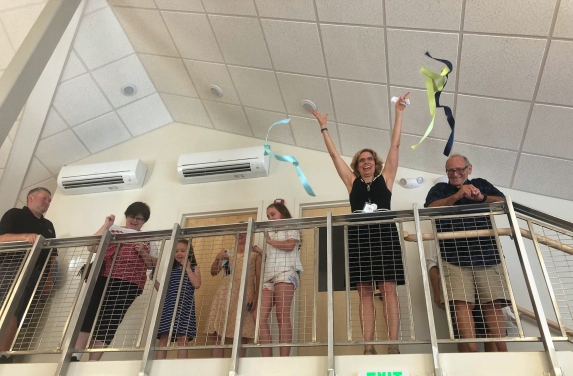 Sarah Campbell cuts ribbon for newly renovated Peaks Island Branch Library